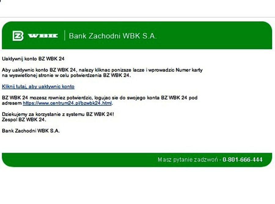 Klienci banku BZ WBK w niebezpieczeństwie