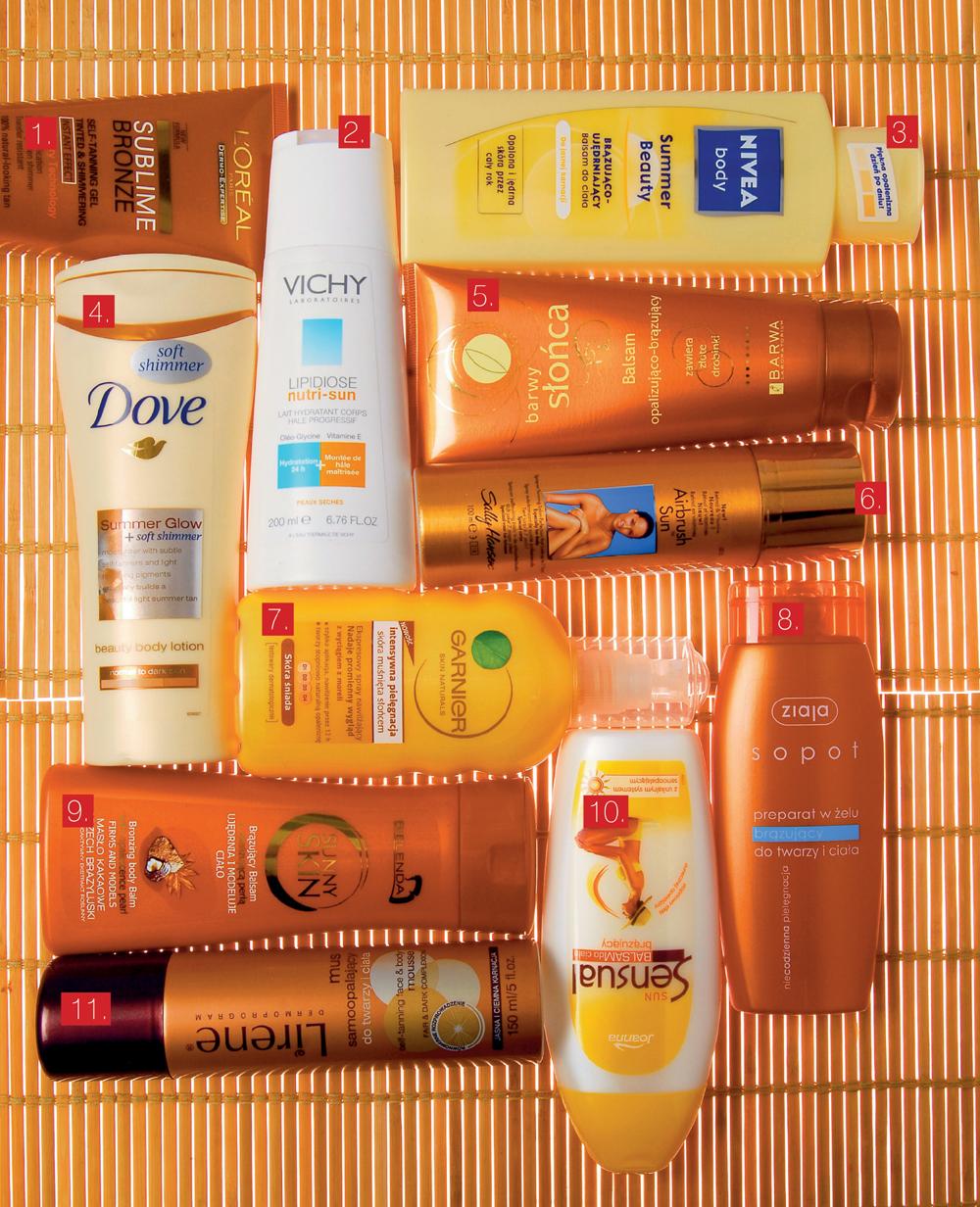 1. Koloryzujący żel z perłowymi drobinkami, Sublime Bronze L\'Oréal, 38 zł 2. Nawilżające, brązujące mleczko do ciała, Lipidiose Nutri-Sun Vichy, 56 zł 3. Balsam brązująco-ujędrniający, Summer Beauty Nivea, 17,50 zł 4. Opalizujący, Summer Glow Dove, 17 zł 5. Ze złotymi drobinkami opalizująco-brązujący, Barwy Słońca Barwa, 13 zł 6. Perfekcyjna opalenizna w sprayu, Airbrush Sun Sally Hansen, 47 zł 7. Nawilżający spray Intensywana pielęgnacja, Garnier, 18 zł 8. Żel brązujący, Sopot Ziaja, 8,70 zł 9. Ujedrniający i modelujący ciało, Sunny Skin Bielenda, 10,80 zł 10. Stopniowy efekt opalenizny, Sun Sensual Joanna, 9,80 zł 11. Mus samoopalający do twarzy i ciała, Lirene, 19,90 zł