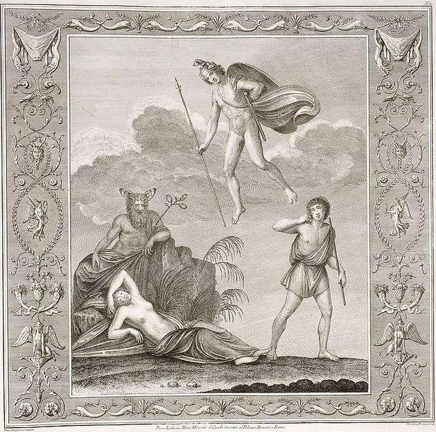 Franciszek Smuglewicz, Vincenzo Brenna, Marco Carloni, Ariadna na Naksos, akwaforta, 1776