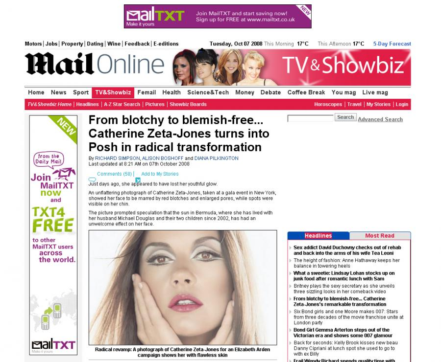 Twarz w reklamie Elizabeth Arden wygląda inaczej