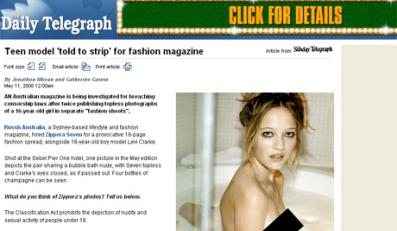 Zdjęcia nagiej 16-letniej modelki wywołały skandal