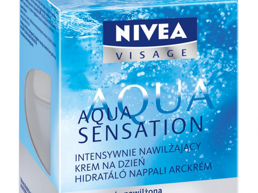 ntensywnie nawilżający krem na dzień Aqua Sensation NIVEA VISAGE intensywnie nawilża skórę przez 24 godziny;