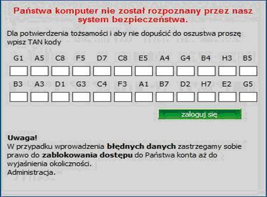 Podrobiona strona banku na fałszywym serwerze